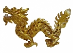 Golden Bejeweled Cloisonne Dragon Statue