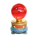 Red Crystal Ball with Golden and Blue Stand
