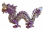 Purple Bejeweled Cloisonne Dragon Statue