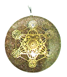 ORGONE GENERATOR PENDANT - COPPER FLAKES WITH ENERGY GRID, CHAKRA STONES AND SYMBOLS